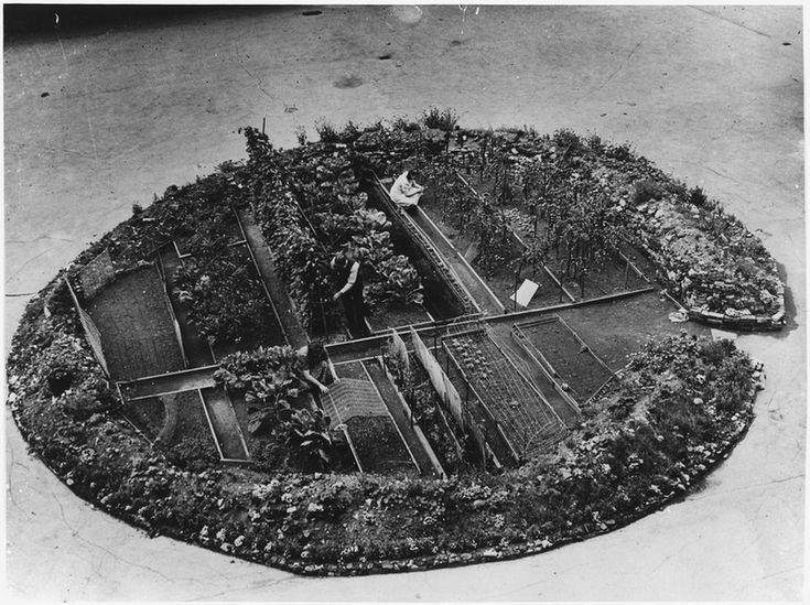 1943. Londoni nyilvános téri kiskert, egy bombatölcsérbe telepítve..jpg