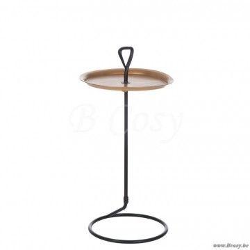 J-Line Bijzettafel rond met handvat metaal-hout mat zwart-goud 35