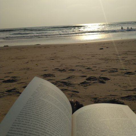 There's no better joy than to sit and read, while the sun sets on the beach #Travelogue #Gokarna