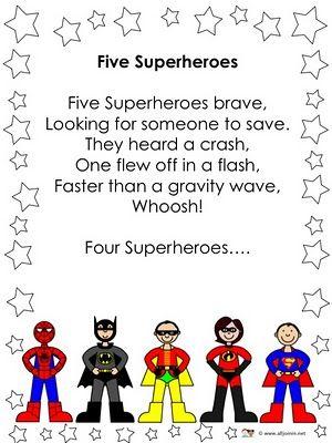 Five superheroes rhyme
