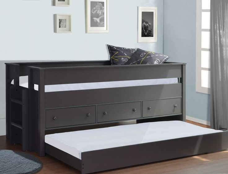 Best Kathie Single Bed With Trundle In 2020 Kid Beds Trundle 640 x 480