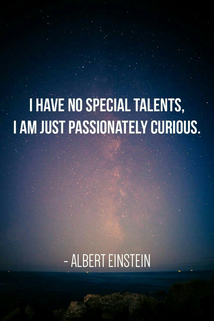 """I have no special talents, I'm just passionately curious"" Albert Einstein"