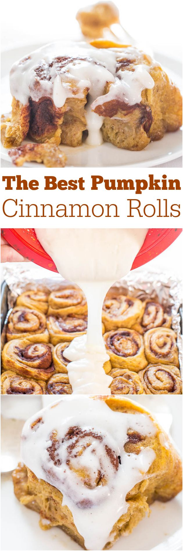 The Best Pumpkin Cinnamon Rolls -  Super soft, fluffy, and topped with a cream cheese glaze! Move over Cinnabon, these are better!!