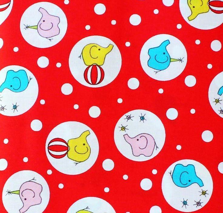 Ella Blue Quilting Fabric - BACKYARD CIRCUS - RED PHANTY BUBBLES  by XL FQ