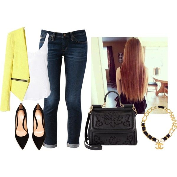 Yellow Blazer Outfit by kgarcia8427 on Polyvore featuring polyvore, fashion, style, Rut&Circle, AG Adriano Goldschmied, Gianvito Rossi, Dolce&Gabbana, Chanel, outfit, yellow and blazer