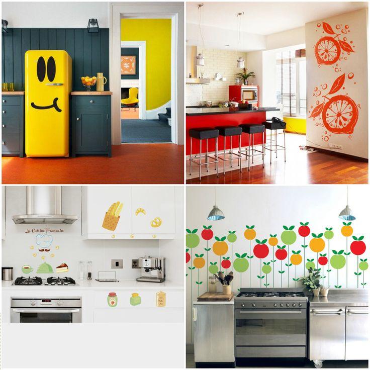 Яркие и сочные акценты: декоративные виниловые наклейки на кухне