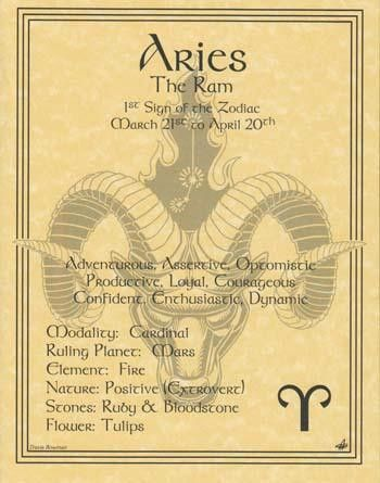 """A wonderful reference, the Aries zodiac poster explores the qualities of the 1st sign of the zodiac. 8 12"""" x 11"""""""
