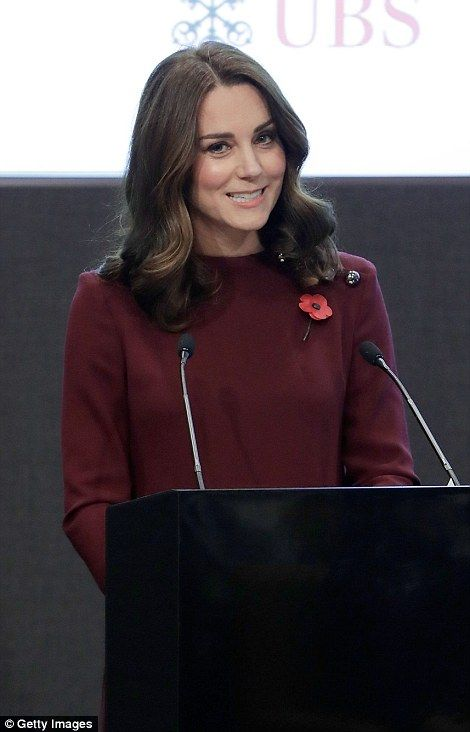 The Duchess also gave a speech in which she said she was still getting used to doing the school run with Prince George