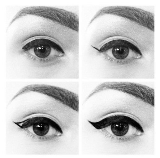 "1960s mod eyeliner ""how-to"" guide in pictures"