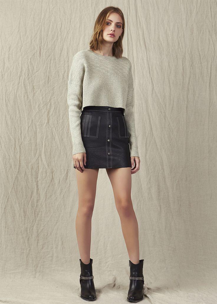 Crop top knit winter high waisted mini leather black skirt ankel boots. Model - Kerryn @ IMG Beauty - Isabella Schimid @ Union Management Photographer - John Rintoul. #AjeTheLabel #Aje #Fashion #Style #LookBook #AW17 #Autumn #Winter #2017 #AustralianFashion #Designer