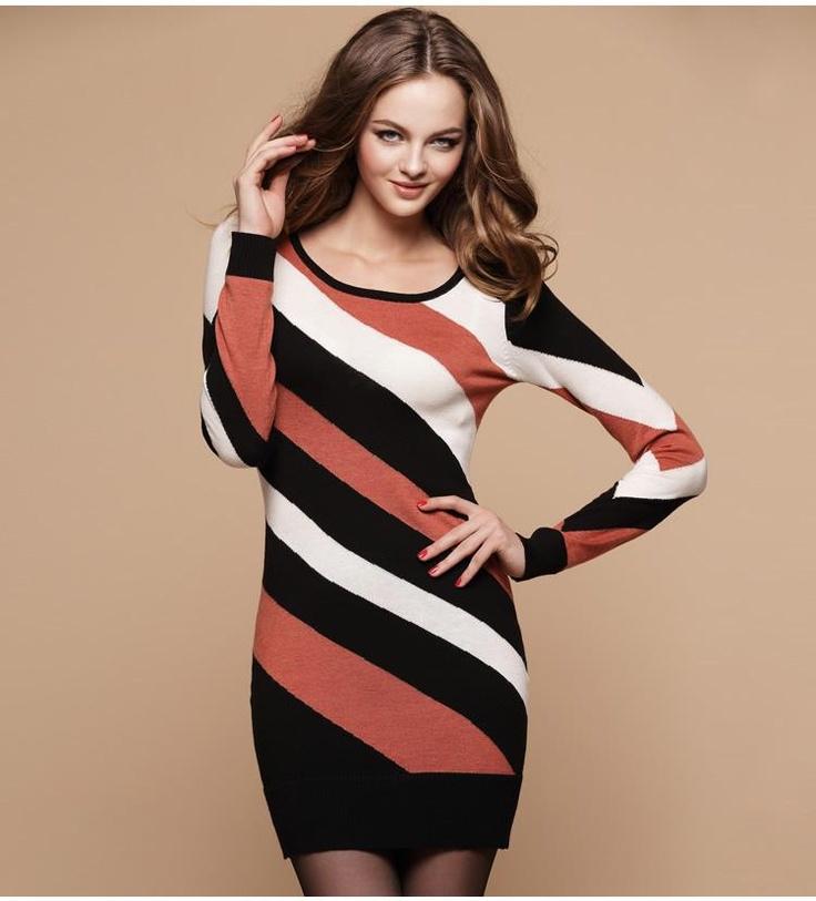 diagonal stripes Slim wool dress  $65.19