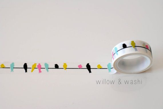 colorful birds on a wire washi tape so cute!