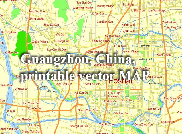 Map Of China Cities In English.Guangzhou China Printable Vector Street G View Level 12 5 Km