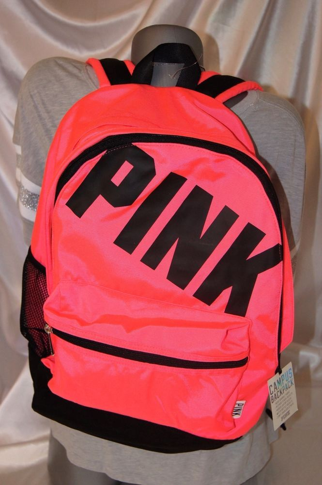 VICTORIA'S SECRET PINK CAMPUS BACKPACK PURSE BEACH BAG TOTE CARRY ON CORAL NWT #VICTORIASSECRETPINK #BACKPACKBEACHBAGGYMTOTECARRYON