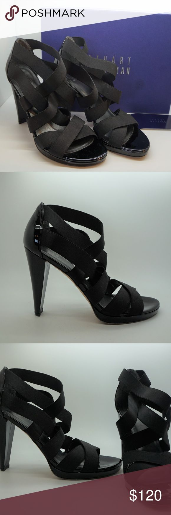 "Stuart Weitzman Black Strappy Sandals Heels Stuart Weitzman Black Elastic Strappy Sandals Retails for $355 Size 10 Excellent pre-owned condition/only worn once. The soles have some light wear. There is some sticker residue on the bottom soles. 4.5"" heel  .75"" platform Stuart Weitzman Shoes Heels"