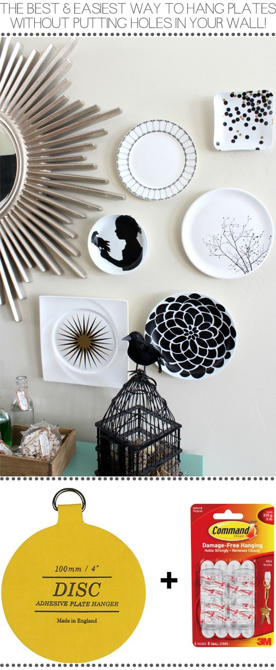 Easiest way to hang and display plates on a wall, WITHOUT having to make any holes! - Halloween Plate Display #platewall #decoratingtipsandtricks #houseofsmiths