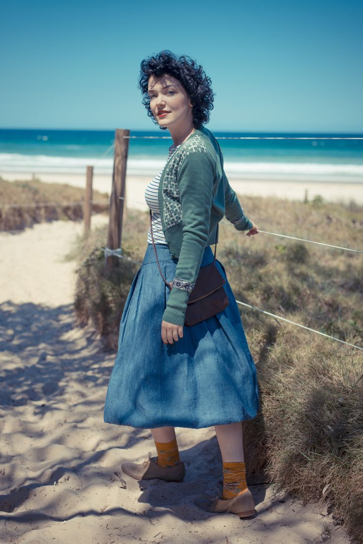 Verity cardigan in Loden with Martha tee and Edith skirt in Indigo. LAZYBONES.COM.AU
