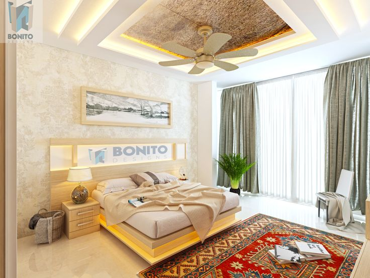 Do You Wish To Have A Classy Bedroom? Then Check The Amazing Bedroom  Interiors Of Bonito Designs With Warm Bed, Utile Side Stand And Unique  False Ceiling.