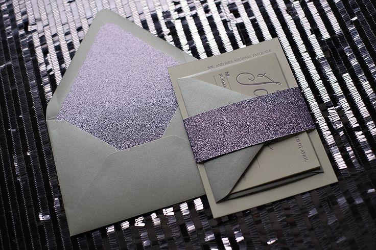 ON SALE NOW! Starts at $725! purple wedding invitation, purple and silver, letterpress wedding invitation, glitter wedding invitation