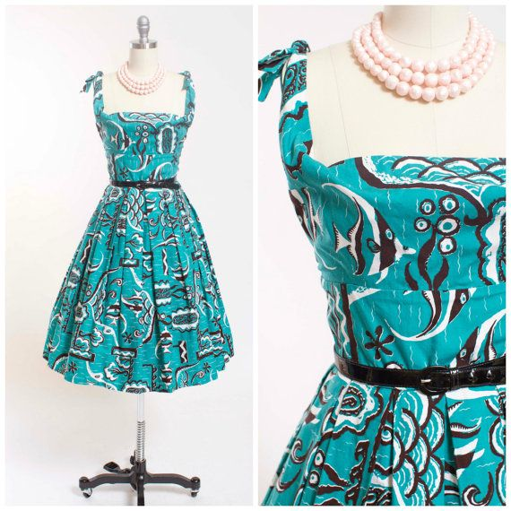 Vintage 50s Dress Bright Turquoise and Black by stutterinmama