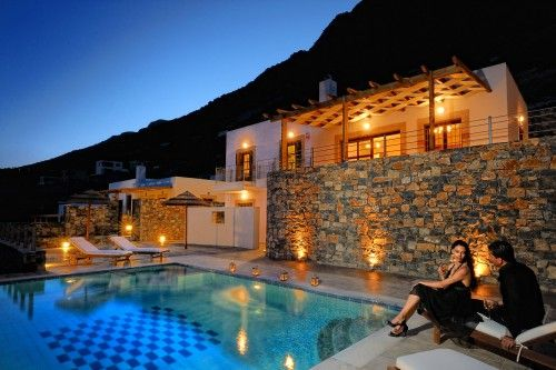 Feel romantic by the private pool of your villa above Elounda bay