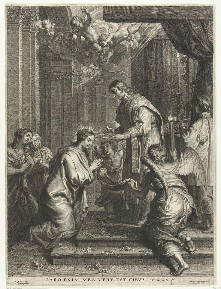 Heilige Rosa van Lima ontvangt de communie, Schelte Adamsz. Bolswert, 1596 - 1659