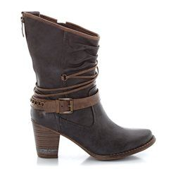 Heeled, Zip-Up Boots with Straps  MUSTANG SHOES