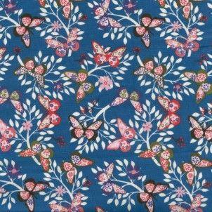 Beautiful butterfly print in denim blue from Nutex - Flutter Blue