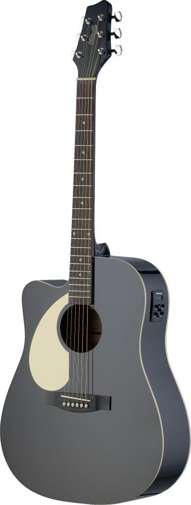Stagg Left Handed Acoustic Electric Dreadnought Guitar With Linden Top
