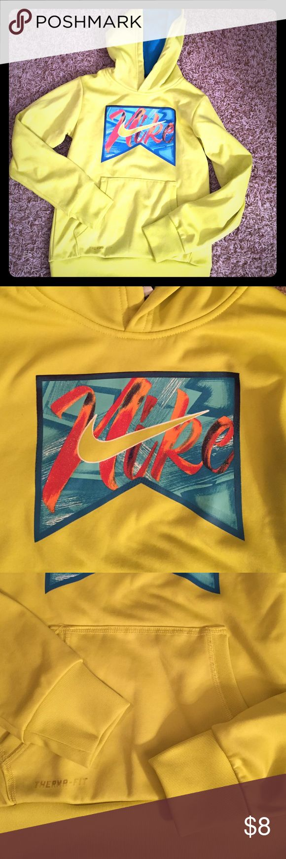 Girls Nike neon yellow sweatshirt, size S Silky outside and warm and snugly on the inside, this sweatshirt is a must for your little lady!  The hood has a teal mesh hood lining.  100% polyester. Nike Shirts & Tops Sweatshirts & Hoodies