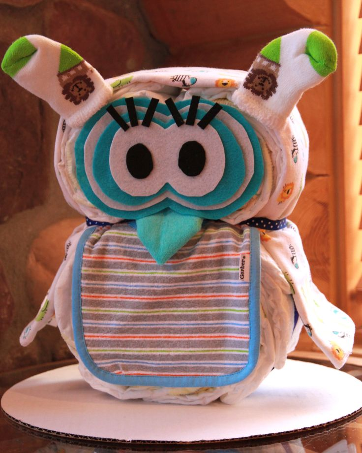 owl themed baby shower for girl | Jungle Theme Gender Neutral Girl or Boy Owl Diaper Cake Baby Shower ...
