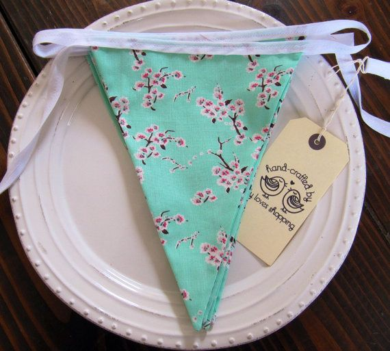 Beautiful Cherry Blossom Print Fabric Bunting - Mint Pink and White Blossom Fabric Garland Bunting