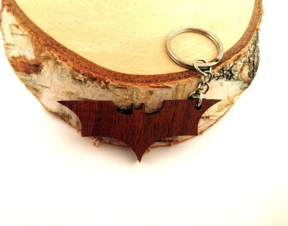 Wooden Batman Sign/Dark Knight Keychain Walnut Wood by PongiWorks