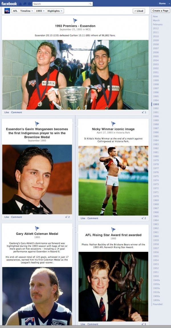 The AFL's Facebook TImeline from 1993... nice!
