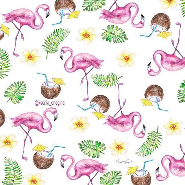 """☉Летний  принт """"Фламинго""""/Flamingo  Рисую принты на заказ пишите в DIRECT. #принт#море#рисунок #рисуюназаказ #логотип#визитки #illustrator #drawing #instabeauty #art #illustration #artwork #artist #follow #sea#summer #print #goodmorning #morning#breakfast #saintpetersburg#weekend#декор#дизайн#decor#strawberry #watercolour#фламинго#принт#ткани"""