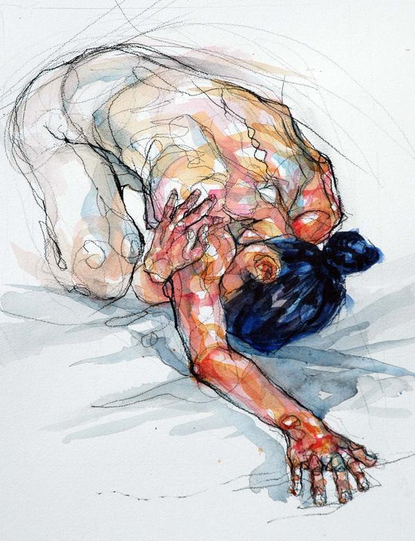 Sylvie Guillot (French, b. 1972), kneeling figurative discreet nude female  anatomy artwork. sylvieguillot.com