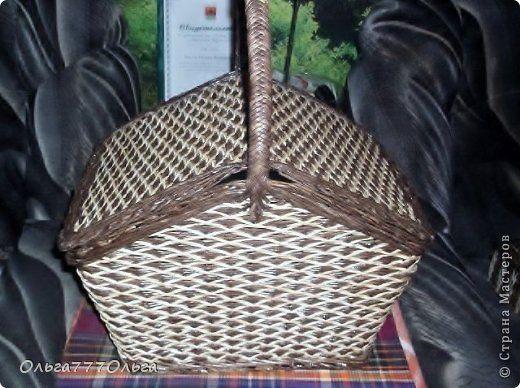 Поделка изделие Плетение Плетение из бумажных трубочек Корзины для пикника Трубочки бумажные фото 8