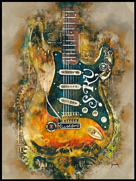 Stevie Ray Vaughan S Steampunk Guitar 12x16 Guitar Wall Art Rock And Roll Art Electric Guitar Music Decor Guitar Gifts In 2020 Steampunk Guitar Guitar Drawing Vintage Guitar Art