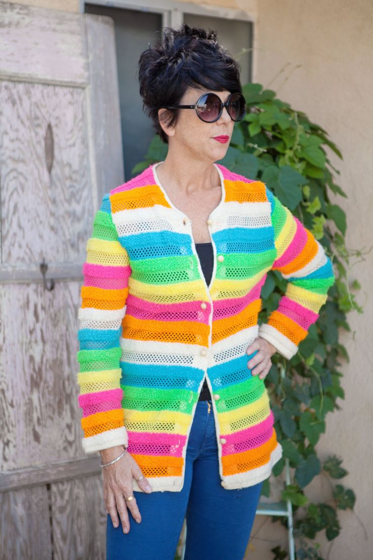 1960's Vintage MultiColor Sweater | Susan Clark Design by HoboJane on Etsy