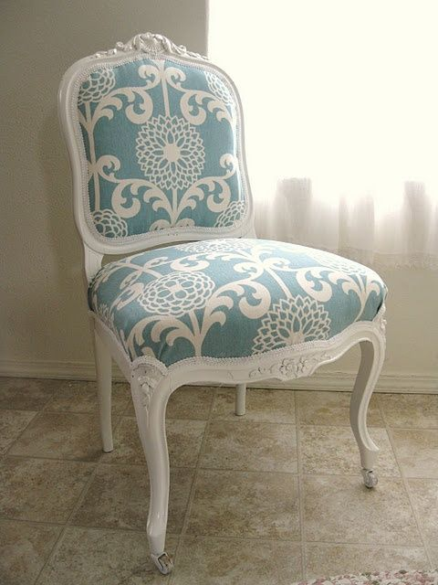 Reupholstered chair diy pinterest beautiful painted for Ideas for reupholstering dining room chairs