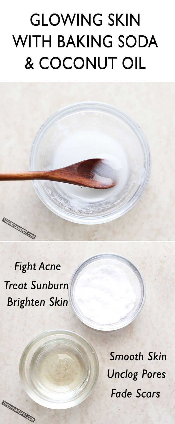 DIY face/body scrub along with its benefits: RECIPE: ½ cup coconut oil 2/3 cup baking soda 5 drops essential oils ( optional ) Method- Take coconut oil in a medium sized bowl. Melt it a bit if solid. Add baking soda slowly and stir until it forms uniformly white in color. Finally, add essential oil and stir again. To use, take about a teaspoon and scrub gently on face. This can be used as a body scrub too!