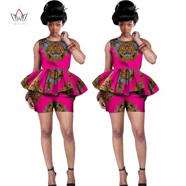Two Piece Set Women New Designs Shorts and Top Dashiki African Print W –  Owame 83456250ab82