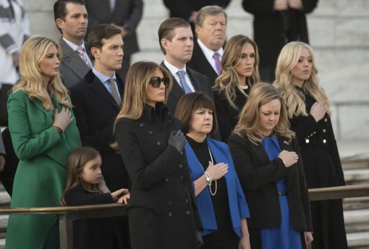 The Trump & Pence family From the front left to the back Melania,Karen,Charlotte,Arabella,Ivanka's,Jared,Eric,Lara,Tiffany & Donald Jr.