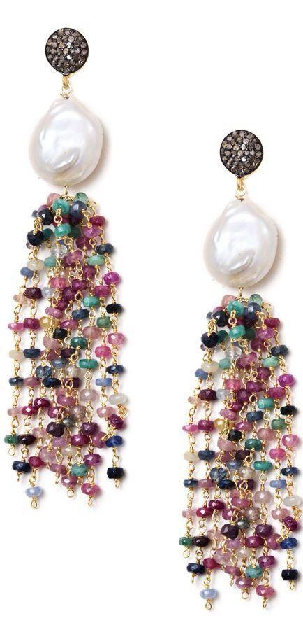 Multicolor Sapphire, Pearl & Champagne Diamond Tassel Earrings, ht