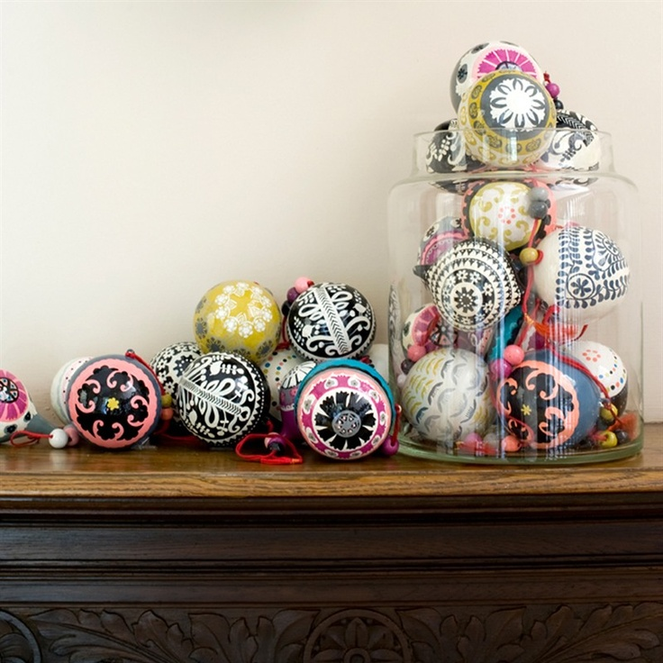 Krakow Baubles (Papier mache baubles, hand painted in Kashmir.) ~ Niki Jones