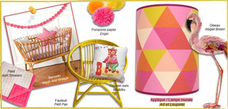 on adore cette planche d 39 inspiration ambiance vintage avec l 39 applique murale enfant triangle. Black Bedroom Furniture Sets. Home Design Ideas