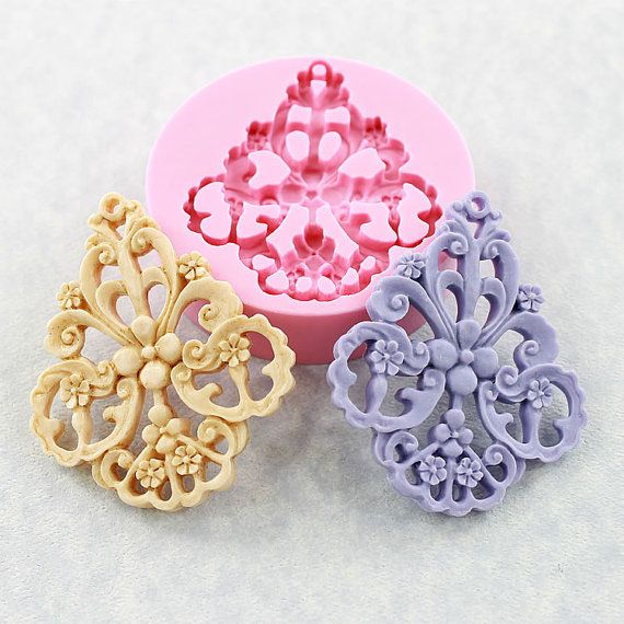 NEW Large Flower Filigree Mold Victorian Mould Resin by MoldMuse, $7.00
