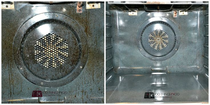 Before and after of filthy to clean oven - use Marble Paste
