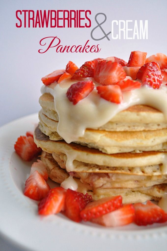 Strawberries and Cream Pancakes  on MyRecipeMagic.com