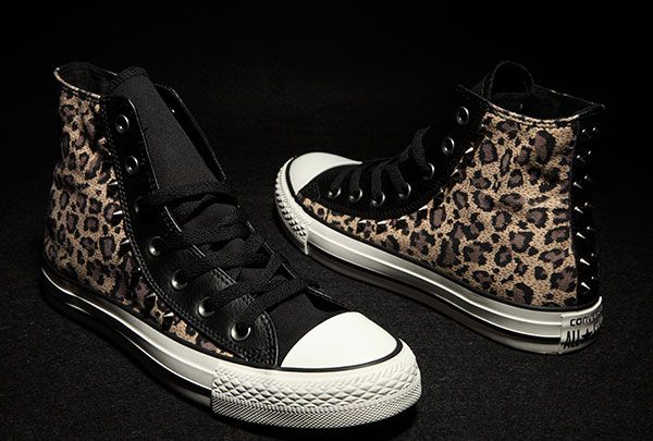 3a4716dfc7fa Converse Rivets Studded Brown Tan Leopard Print Black Leather Edge Chuck  Taylor All Star Sneakers  converse  shoes